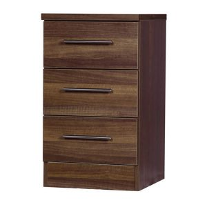 Walnut 3 Drawer Bedside